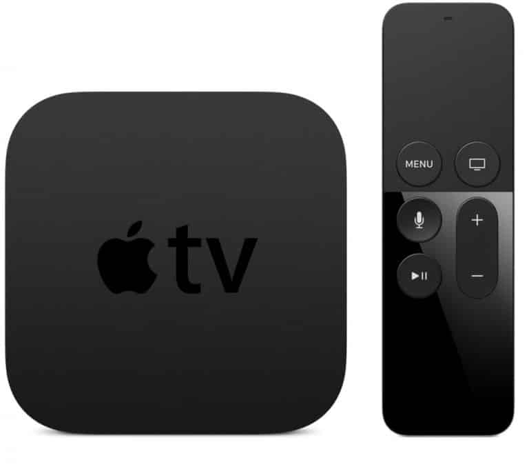 Apple TV med fjärrkontroll.