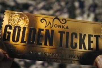 Den gyllene biljetten i Kalle och cokladfabriken.